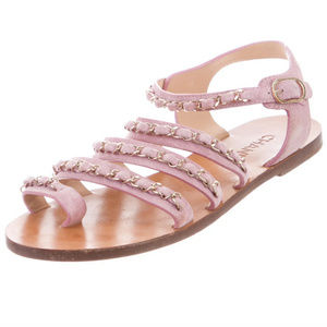CHANEL Suede Chain-Link Sandals Pink Suede 41/11